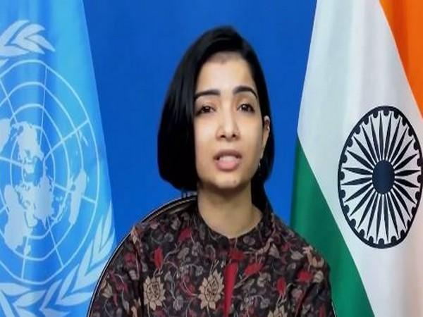 India's First Secretary Sneha Dubey at UNGA Second Committee. (Photo Courtesy: Twitter/IndiaUNNewYork)