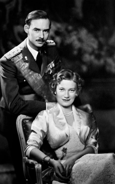 Grand Duke Jean of Luxembourg in 1955 with his wife Josephine-Charlotte of Belgium.  - Credit: AFP