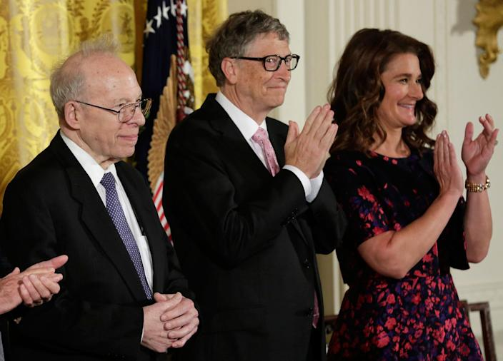 <p>Presidential Medal of Freedom recipients physicist Richard Garwin, left, and Bill and Melinda Gates applaud during the Presidential Medal of Freedom ceremony at the White House, Nov. 22, 2016. (Yuri Gripas/Reuters) </p>