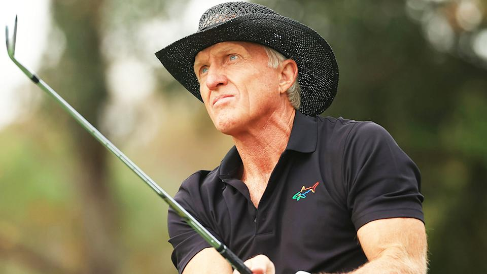 Greg Norman, pictured here in action at the PNC Championship in 2020.