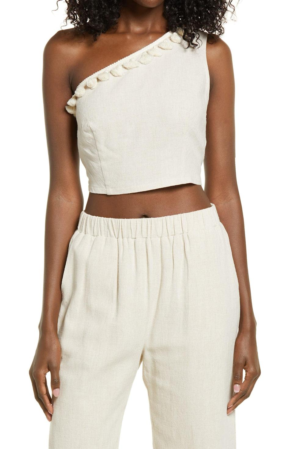 <p>This <span>LulusOne-Shoulder Crop Top</span> ($38) is a great choice for any outing. Pair it with the matching <span>Lulus Crop Flare Pants</span> ($48) for a statement neutral look.</p>