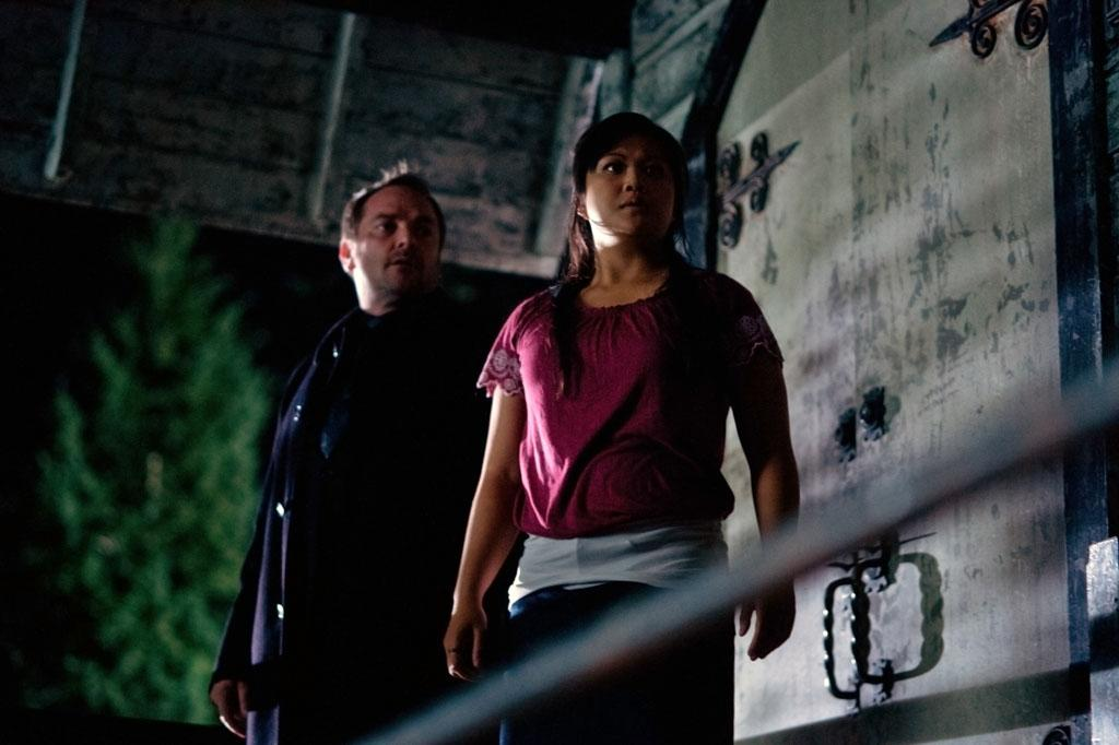 """Mark A. Sheppard as Crowley and Lissa Neptuno as Channing in the """"Supernatural"""" Season 8 premiere, """"We Need To Talk About Kevin."""""""