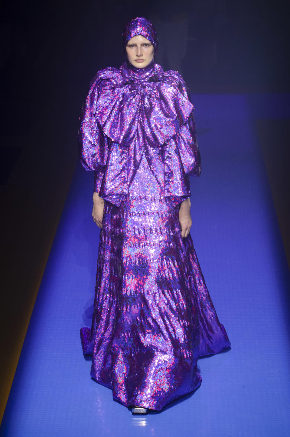 <p><i>Purple iridescent ruffled gown with matching hood from the SS18 Gucci collection. (Photo: ImaxTree) </i></p>