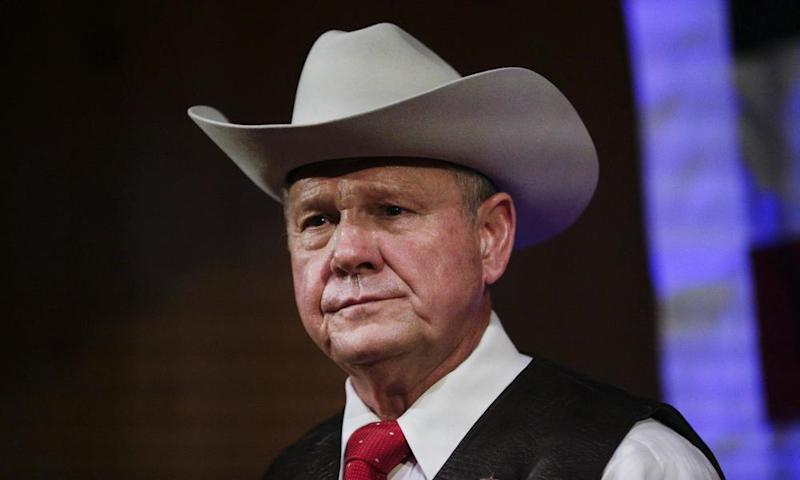 Roy Moore speaks at a rally, in Fairhope, Alabama on 25 September 2017.