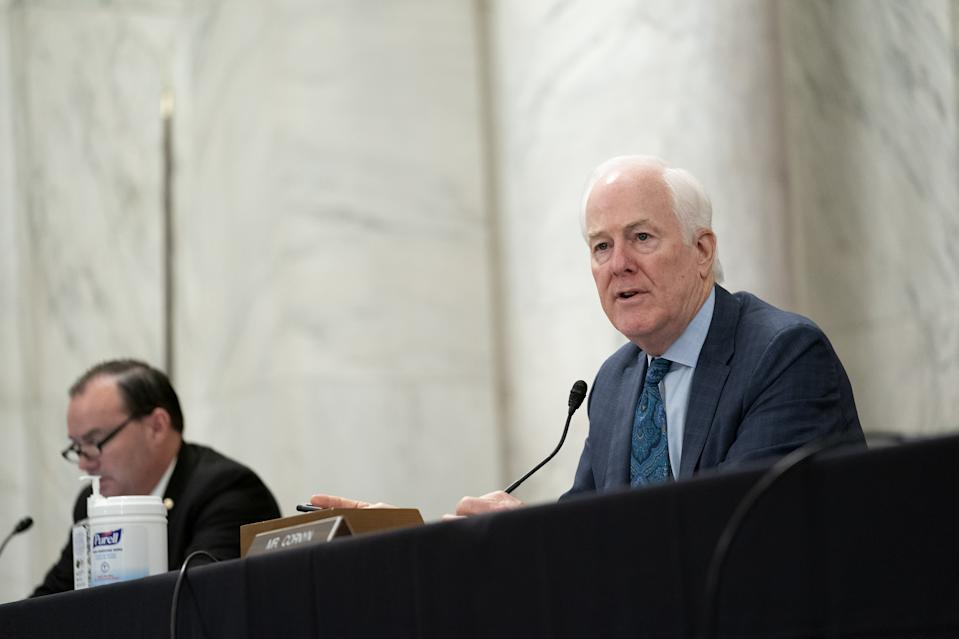 Senator John Cornyn, a Republican from Texas, speaks during a Senate Judiciary Committee business meeting in Washington, D.C., U.S., on Thursday, Sept. 24, 2020.  (Stefani Reynolds/Bloomberg via Getty Images)