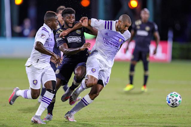 Orlando City has never made the playoffs, but Tesho Akindele (13) and the Lions are headed to the MLS Is Back knockout stage. (Photo by Joe Petro/Icon Sportswire via Getty Images)