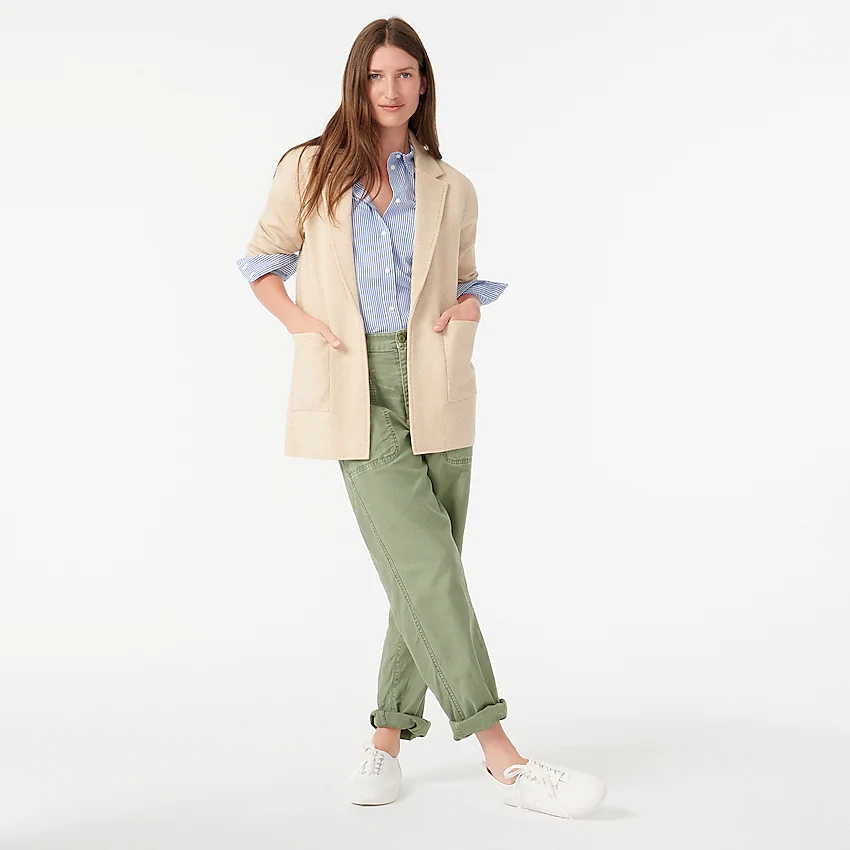 "<br><br><strong>J.Crew</strong> Sophie Open-Front Sweater-Blazer, $, available at <a href=""https://go.skimresources.com/?id=30283X879131&url=https%3A%2F%2Fwww.jcrew.com%2Fp%2Fwomens_category%2Fblazers%2Fnovelty%2Fsophie-openfront-sweaterblazer%2FJ0244"" rel=""nofollow noopener"" target=""_blank"" data-ylk=""slk:J. Crew"" class=""link rapid-noclick-resp"">J. Crew</a>"
