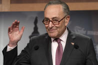 Senate Majority Leader Chuck Schumer, D-N.Y., speaks to the media, Tuesday, March 2, 2021, on Capitol Hill in Washington. (AP Photo/Jacquelyn Martin)