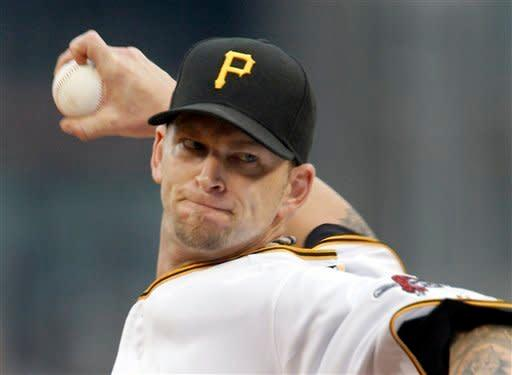Pittsburgh Pirates starting pitcher A.J. Burnett throws against the San Diego Padres in the first inning of a baseball game on Saturday, Aug. 11, 2012, in Pittsburgh. (AP Photo/Keith Srakocic)