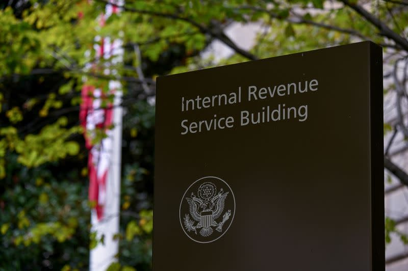 A sign for the Internal Revenue Service building is seen in Washington