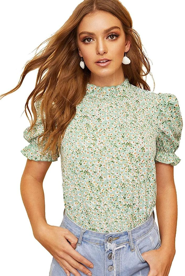 <p>This <span>Romwe Floral Blouse</span> ($18) looks cute with jeans.</p>