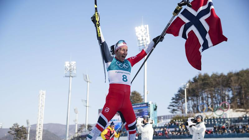 Winter Olympics 2018: Bjoergen takes record-equalling gold as Norway top medal table