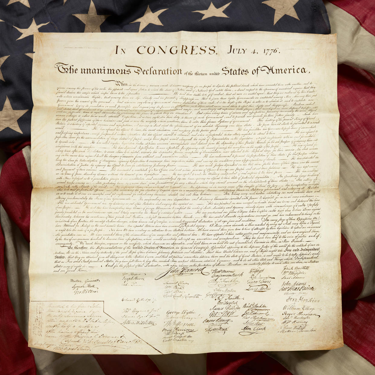 Charles Carroll copy of Declaration of Independence