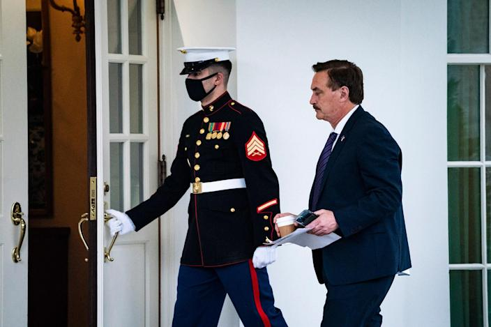 Lindell is seen entering the West Wing of the White House, Friday, Jan. 15, 2021.