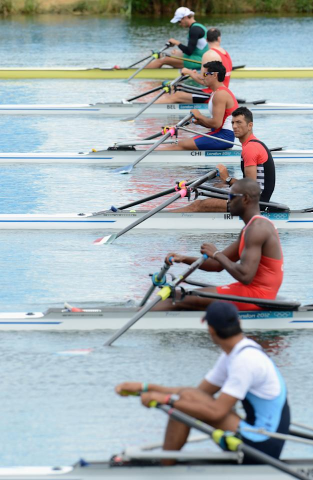 WINDSOR, ENGLAND - JULY 28:  Mohsen Shadi Naghadeh of Islamic Republic of Iran prepares to compete in the Men's Single Sculls Heats on Day 1 of the London 2012 Olympic Games at Eton Dorney on July 28, 2012 in Windsor, England.  (Photo by Harry How/Getty Images)