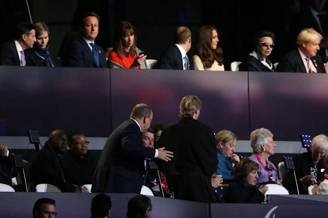 LONDON, ENGLAND - AUGUST 29: British Prime Minister David Cameron ( top 3rd left) looks on as Prince Albert II of Monaco and Princess Charlene of Monaco leave their seats during the Opening Ceremony of the London 2012 Paralympics at the Olympic Stadium on August 29, 2012 in London, England. (Photo by Chris Jackson/Getty Images)