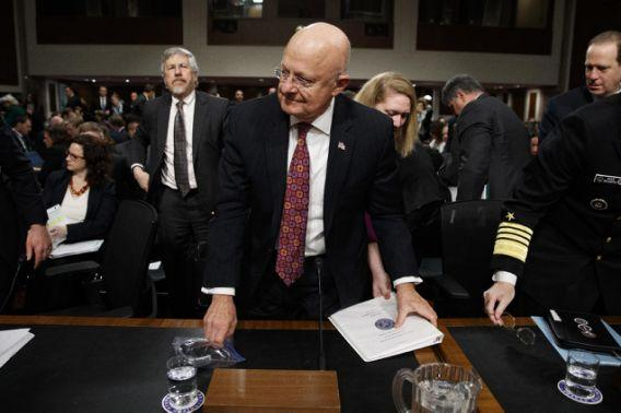 Director of National Intelligence James Clapper prepares to leave after testifying on Capitol Hill in Washington, Thursday, Jan. 5, 2017, before the Senate Armed Services Committee hearing:
