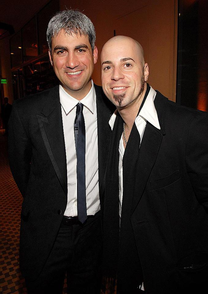 "Season 5 ""American Idol"" winner Taylor Hicks, with multi-platinum season 5 loser Chris Daughtry. Kevin Mazur/<a href=""http://www.wireimage.com"" target=""new"">WireImage.com</a> - February 10, 2007"