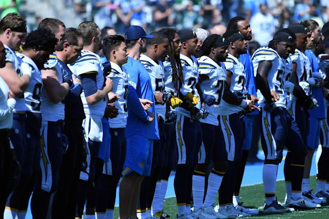 <p>The Los Angeles Chargers stand for the National Anthem prior to the game against the Philadelphia Eagles at StubHub Center. Mandatory Credit: Richard Mackson-USA TODAY Sports </p>