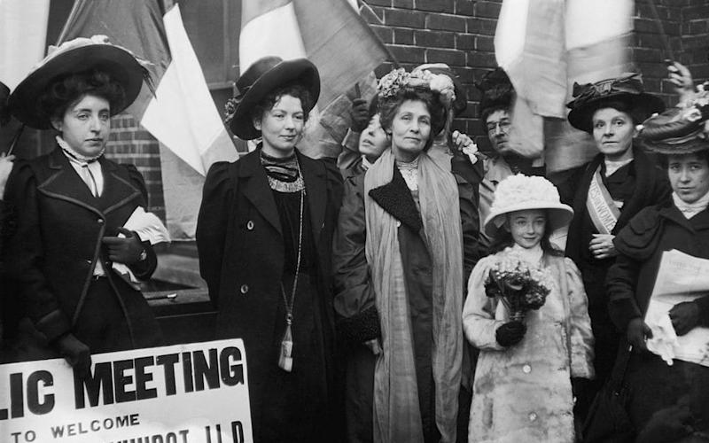 Emmeline Pankhurst, founder of the Women's Social and Political Union who fought for women's right to vote, pictured leaving prison with her daughter, Christabel, in 1908. - Hulton Archive/Getty Images