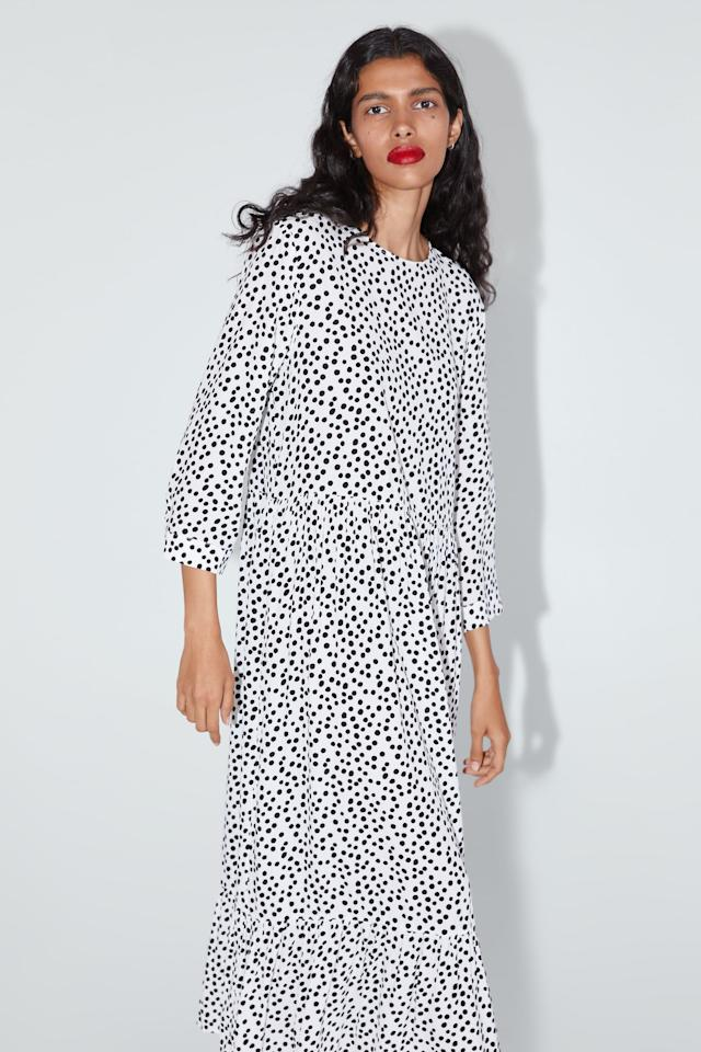 Our Editors Are Obsessed With This Easy, Breezy Polka-Dot Zara Dress