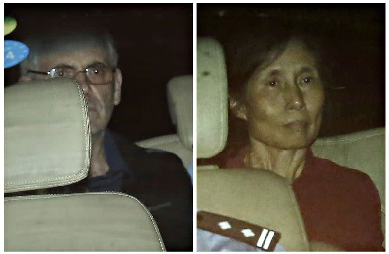 A combination photo shows British corporate investigator Humphrey and his wife Yingzeng as they leave the Shanghai No.1 Intermediate People's Court inside police vehicle in Shanghai