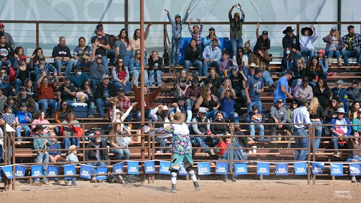 Fans, most not wearing masks, attend the 42nd annual Baca Rodeo Series in Las Cruces, N.M. The event was held on five consecutive Saturdays from Feb. 13 to March 13.