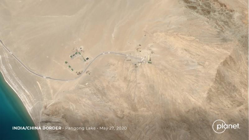 Build up at the Line of Actual Control on the disputed border between China and India is seen in this handout satellite image of Pangong Lake courtesy of Planet Labs taken May 27, 2020