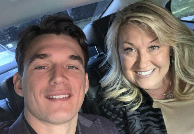 Tyler Cameron — pictured with his mom, Andrea, en route to the People's Choice Awards in November — reveals she died from a brain aneurysm. (Screenshot: Andrea Cameron via Instagram)