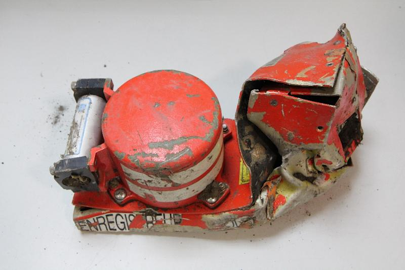 This picture taken on March 25, 2015 and released by France's Bureau of Investigation and Analysis, shows the Cockpit Voice Recorder of the Germanwings Airbus A320 that crashed in the French Alps (AFP Photo/)