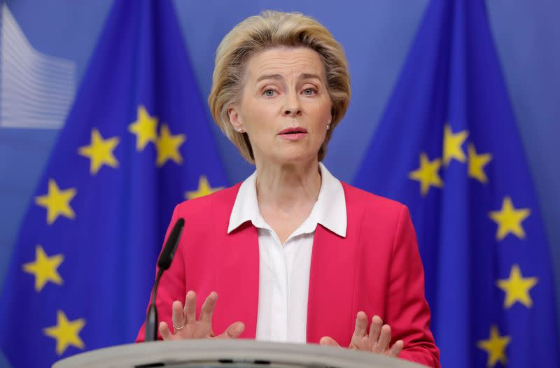 European Commission President Ursula von der Leyen and European commissioners Schinas and Johansson brief the press after the college of EU commissioners