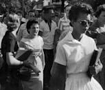 <p>1957. AP Caption: Students of Central High School in Little Rock, including Hazel Bryan, shout insults at Elizabeth Eckford as she calmly marches down to a line of National Guardsmen, who blocked the main entrance and would not let her enter. </p>