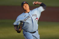 Toronto Blue Jays starting pitcher Hyun Jin Ryu throws to a New York Yankees batter during the first inning of a baseball game Tuesday, April 13, 2021, in Dunedin, Fla. (AP Photo/Mike Carlson)