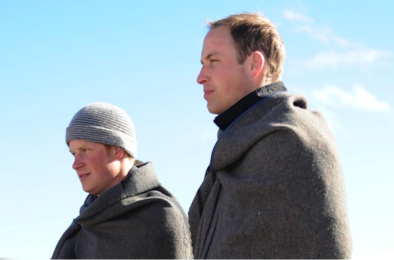 Prince William and Prince Harry visit a children's orphanage in the mountains near Semongkong, Lesotho