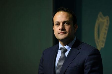 Ireland's Taoiseach, Leo Varadkar looks on at a news conference at Government Buildings in Dublin