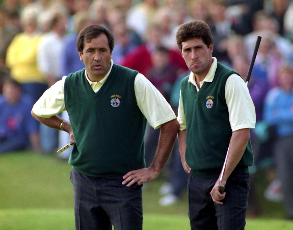 Golf - 1993 Ryder Cup - The Belfry - 26/9/93  Europe's Seve Ballesteros (L) and Jose Maria Olazabal  during their round  Mandatory Credit: Action Images