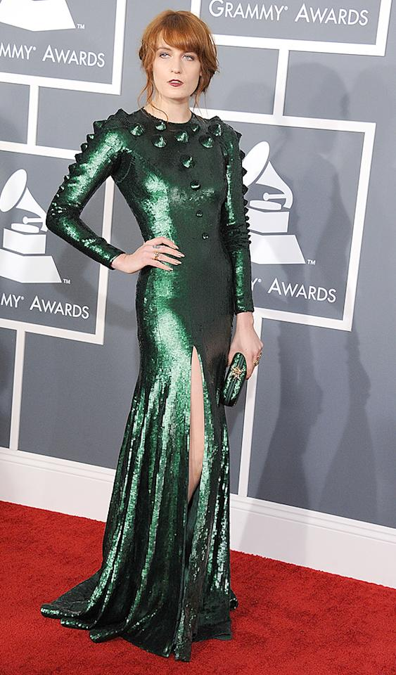 LOS ANGELES, CA - FEBRUARY 10:  Florence Welch arrives at the The 55th Annual GRAMMY Awards on February 10, 2013 in Los Angeles, California.  (Photo by Steve Granitz/WireImage)
