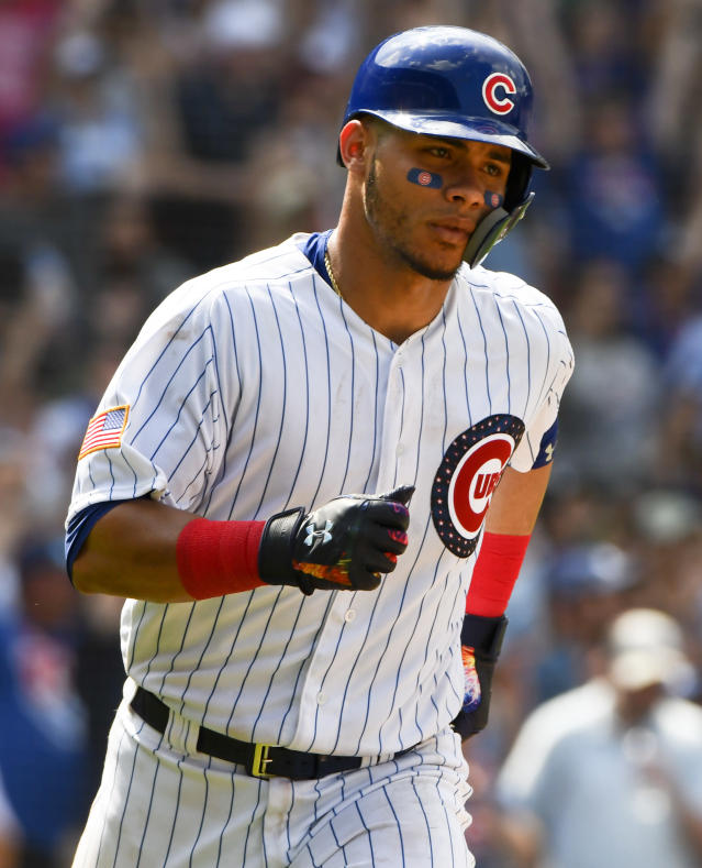 Chicago Cubs' Willson Contreras (40) runs the bases after his home run during the sixth inning of a baseball game against the Detroit Tigers on Wednesday, July 4, 2018, in Chicago. (AP Photo/Matt Marton)