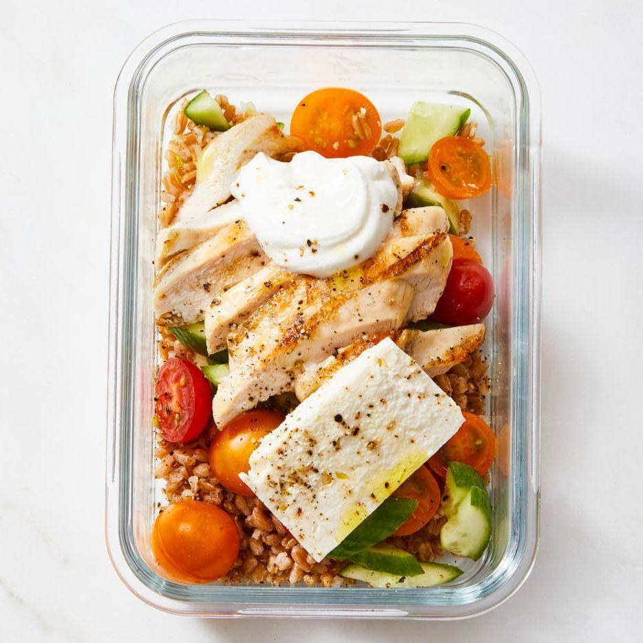 """<p>Put together this healthy, delicious meal in advance, then just grab and go when you need to head out the door.</p><p><em><a href=""""https://www.goodhousekeeping.com/food-recipes/a35353557/greek-chicken-grain-bowl-recipe/"""" rel=""""nofollow noopener"""" target=""""_blank"""" data-ylk=""""slk:Get the recipe for Greek Chicken Grain Bowl »"""" class=""""link rapid-noclick-resp"""">Get the recipe for Greek Chicken Grain Bowl »</a></em></p>"""