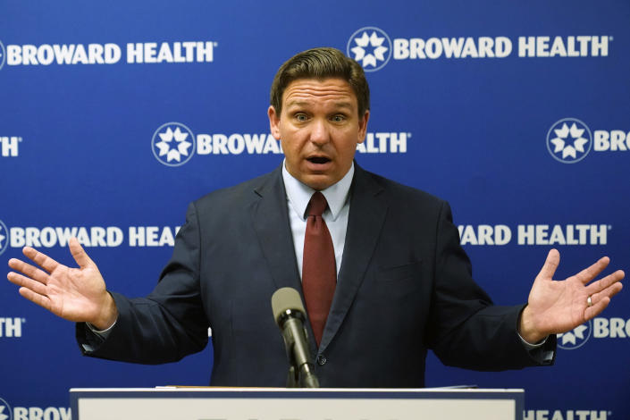 Florida Gov. Ron DeSantis speaks at a news conference, Thursday, Sept. 16, 2021, at the Broward Health Medical Center in Fort Lauderdale, Fla. DeSantis was there to promote the use of monoclonal antibody treatments for those infected with COVID-19. (AP Photo/Wilfredo Lee)