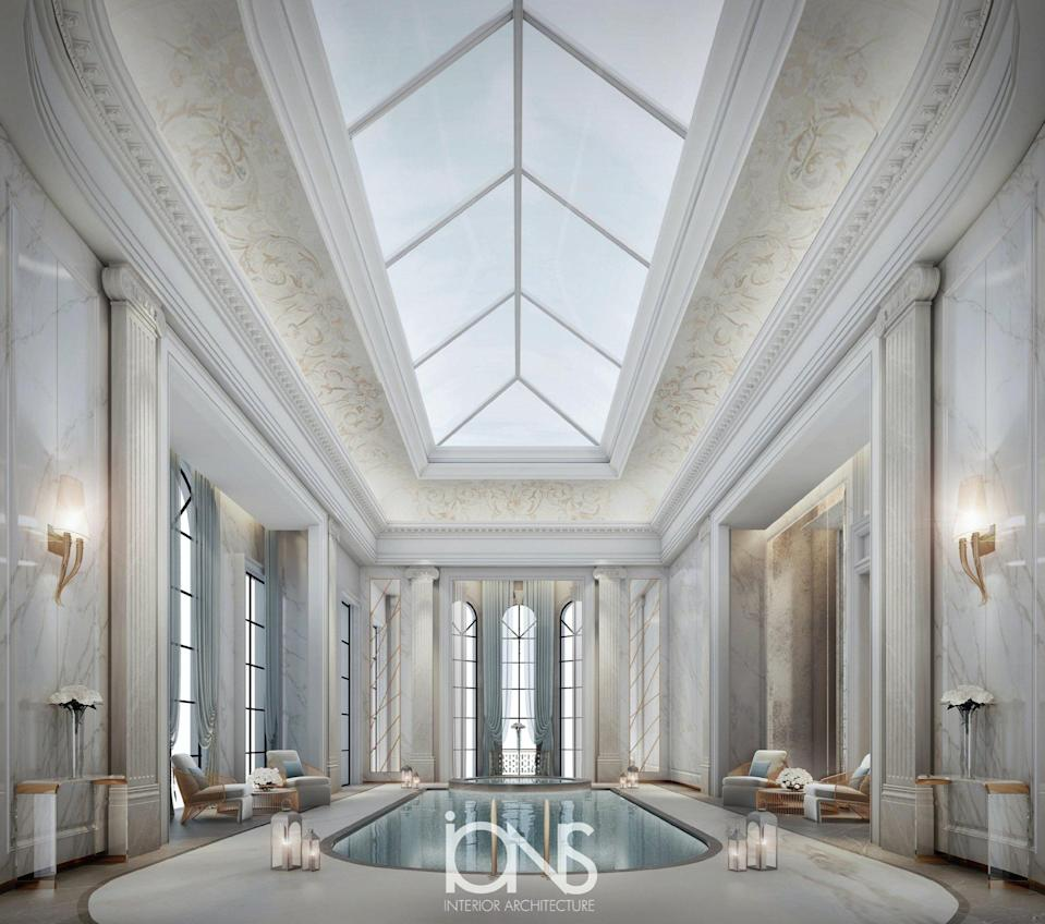 Renderings for an ultra-luxurious neoclassical pool by IONS Design.