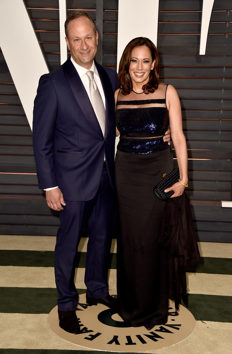 BEVERLY HILLS, CA - FEBRUARY 22:  Attorney Douglas Emhoff (L) and California Attorney General Kamala Harris attend the 2015 Vanity Fair Oscar Party hosted by Graydon Carter at Wallis Annenberg Center for the Performing Arts on February 22, 2015 in Beverly Hills, California.  (Photo by Pascal Le Segretain/Getty Images)