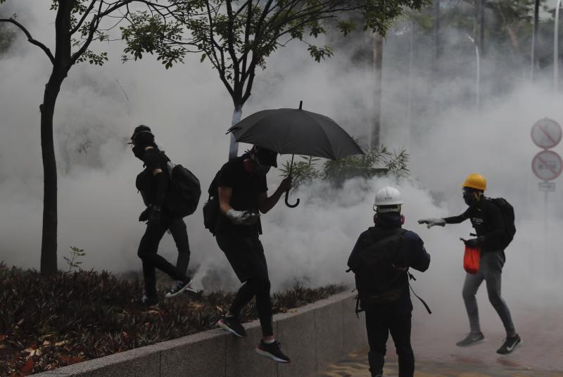 Police use tear gas to disperse protestors in Hong Kong, on 6 October, 2019. (AP file photo)