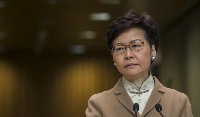 Hong Kong Chief Executive Carrie Lam meets the media on January 7, saying she would stay in office to tackle public health and economic challenges. Photo: May Tse