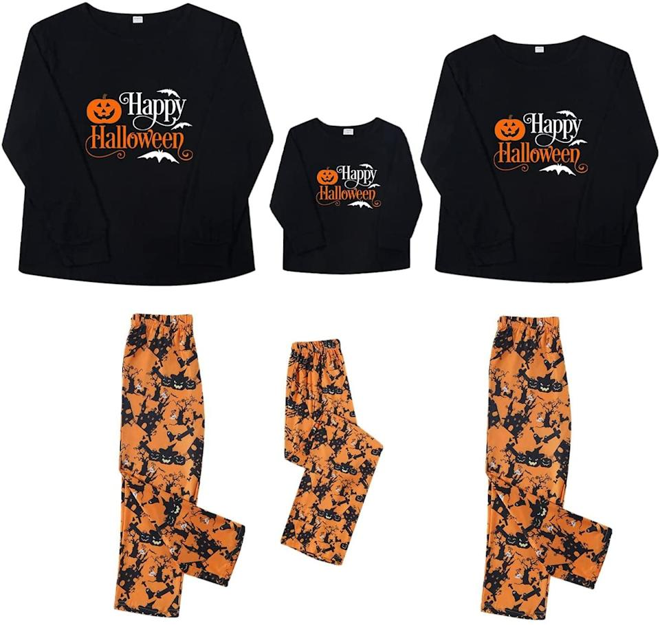 <p>You can't go wrong with these cozy and soft two-piece set. These orange and black pajamas come in <span>Women's Happy Halloween Matching Family Pajamas Set</span> ($58),<br> <span>Men's Happy Halloween Matching Family Pajamas Set</span> ($58), and <span>Kid's Happy Halloween Matching Family Pajamas Set</span> ($39).</p>