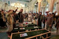 Forces loyal to Yemen's Huthi rebels on Tuesday chanted slogans by the coffins of fallen fighters killed in battle, during a mass funeral in the rebel-held capital Sanaa