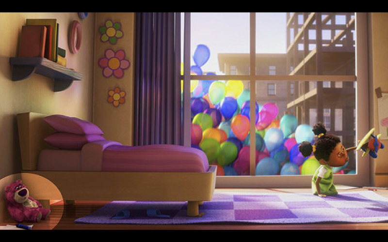Don't be distracted by the balloons - Lotso appears bottom-left (credit: Pixar)