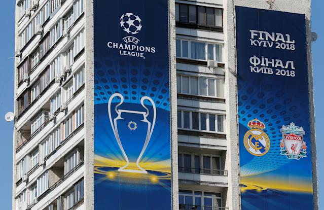 Banners for the Champions League final are seen on an apartment building in central Kiev, Ukraine May 10, 2018. Picture taken May 10, 2018. REUTERS/Valentyn Ogirenko