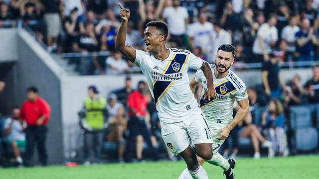 "Ola Kamara celebrates his equalizer for the LA Galaxy against LAFC in ""El Trafico."" (Omnisport)"