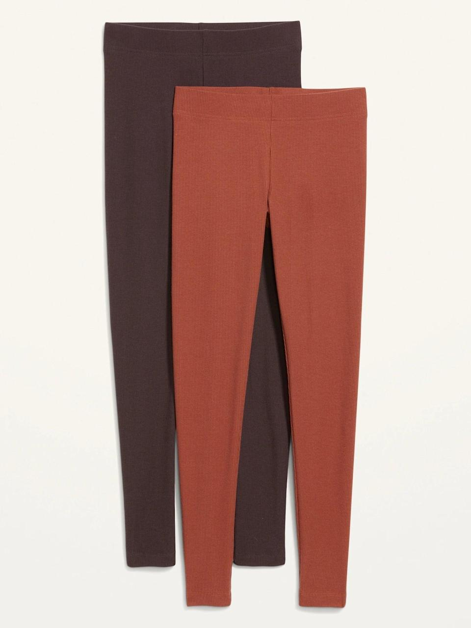 <p>You can't go wrong with a set of <em>two</em> leggings, and both of the shades in the <span>Old Navy High-Waisted Rib-Knit Leggings 2-Pack</span> ($30, originally $35) make us want to order a pumpkin-spice latte and chill ASAP.</p>